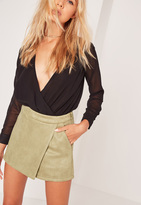 Missguided Bonded Faux Suede Skorts Green