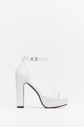 Nasty Gal Womens On the Rise Faux Leather Platform Heels - White - 7