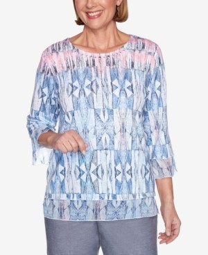 Alfred Dunner Plus Size Stained Glass 3/4 Bell Sleeve Embellished Neckline Knit Top