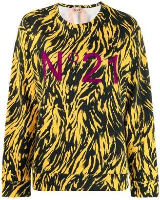 No.21 Animal print logo sweatshirt