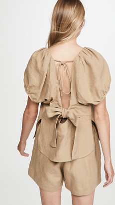 Bassike Tie Back Linen Top