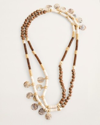 Chico's Neutral Shell, Wood and Bead Single-Strand Necklace
