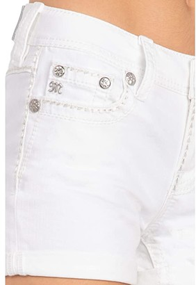 Miss Me Cuffed Mid-Rise Shorts with Thick Border Stitch in White (White) Women's Shorts