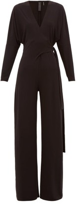 Norma Kamali Wrap-front Jersey Jumpsuit - Black