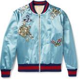 Gucci Appliquéd Silk-Satin Bomber Jacket