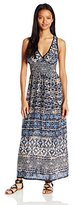 Angie Women's Blue Printed Maxi Dress