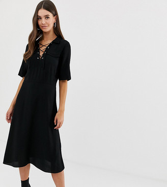 Asos Tall DESIGN Tall midi shirt dress with lace up front-Black
