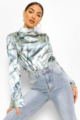 boohoo Marble Print Satin Ruched Shoulder Bodysuit
