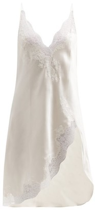 Carine Gilson Side-slit Leavers Lace-trimmed Silk Nightdress - Ivory