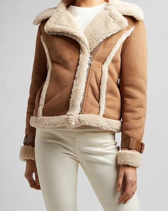 Express Faux Shearling Moto Jacket