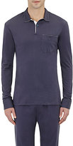 Barneys New York Men's Long-Sleeve Polo Shirt-Navy
