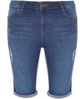 Dorothy Perkins Womens Mid Wash Abrasion Denim Knee Shorts- Blue