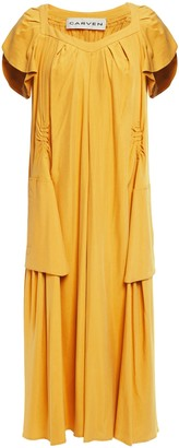 Carven Pleated Washed-silk Midi Dress