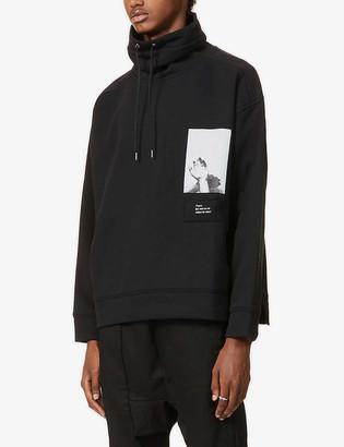 Isabel Benenato Graphic-patch funnel-neck cotton-blend jersey sweatshirt