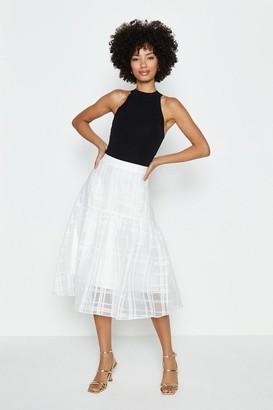 Coast Check Organza Dirndl Hem Skirt