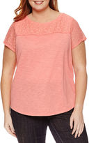Liz Claiborne Short Sleeve Crew Neck T-Shirt-Womens Plus