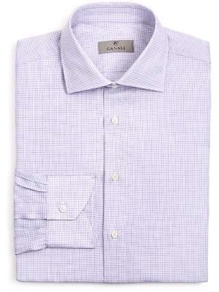 Canali Micro Check Regular Fit Dress Shirt