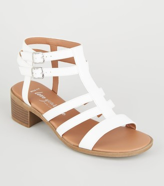 New Look Wide Fit Leather-Look Caged Footbed Sandals