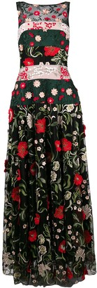 Talbot Runhof Floral Embroidered Long Dress