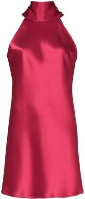 Galvan Sienna tie-neck satin mini dress
