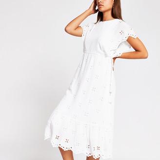 River Island White short sleeve broderie midi dress