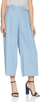 Moon River Women's HIGH Waisted Basket Weave Wide Leg Cropped Pant