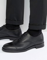 Selected Marc Toe Cap Shoes In Black Leather