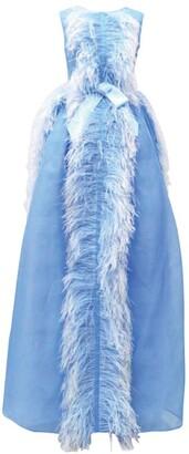 Huishan Zhang Beau Feather-Trim Gown