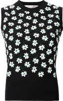 Carolina Herrera floral embroidered knit tank
