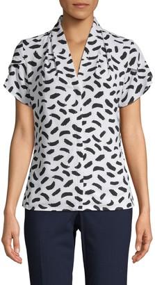Calvin Klein Collection Printed Flutter-Sleeve Top