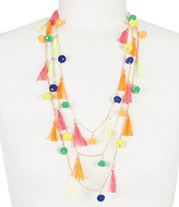 Natasha Accessories Tassel & Pom Pom Multi-Strand Necklace