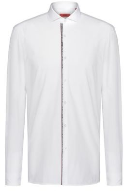 HUGO BOSS Extra Slim Fit Cotton Shirt With Text Trimmed Placket - Open White