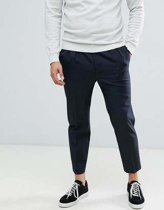 ASOS DESIGN tapered crop smart pants in 100% wool with double pleat