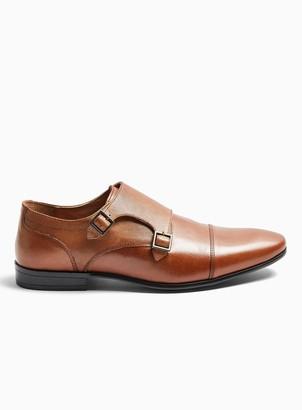 Topman Tan Leather Bright Monk Shoes