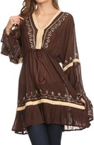 Sakkas SST115 - Melina Embroidered V-Neck Kimono Sleeves Rayon Tunic Blouse / Cover-up - OS