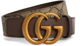 Gucci Leather-GG Supreme Double G Belt