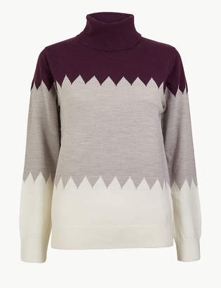 Marks and Spencer Cashmilon Colour Block Roll Neck Jumper
