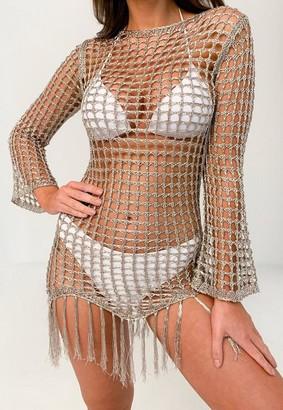 Missguided Silver Metallic Crochet Tassel Beach Mini Dress