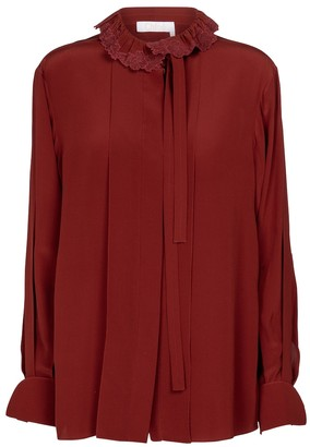 Chloé Embroidered tie-neck silk blouse