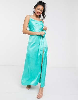 Dark Pink cowl satin jacquard slip dress with thigh high split in aqua