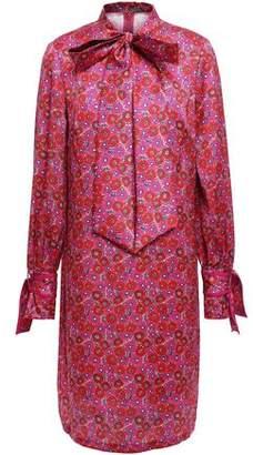 Lela Rose Pussy-bow Floral-print Twill Mini Dress