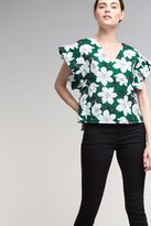 J.o.a. Jerrie Floral-Print Blouse, Green