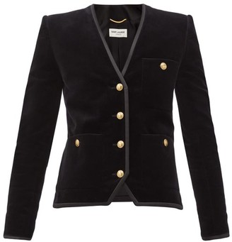 Saint Laurent Single-breasted Cotton-velvet Jacket - Black