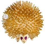 14K Diamond & Ruby Hedgehog Brooch
