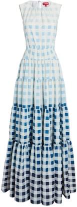 STAUD Riviera Sleeveless Gingham Maxi Dress