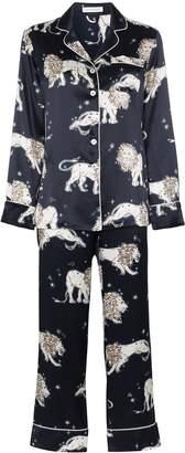 Olivia von Halle Lila lion print pyjama set