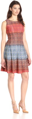 Julian Taylor Women's Printed Fit and Flare Dress