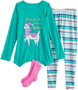 So Girls 4-18 Holiday Top, Leggings & Socks Pajama Set