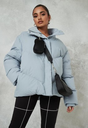 Missguided Blue Chevron Quilted Puffer Jacket