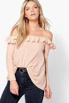 Boohoo Lucy Double Ruffle Open Shoulder Long Sleeve Top